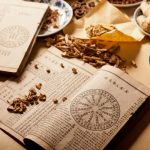 ancient chinese medicine book with dried herbs